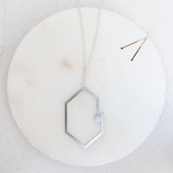 Double hexagon steel necklace