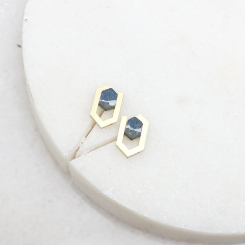 Geometric hexagon brass and stone earrings