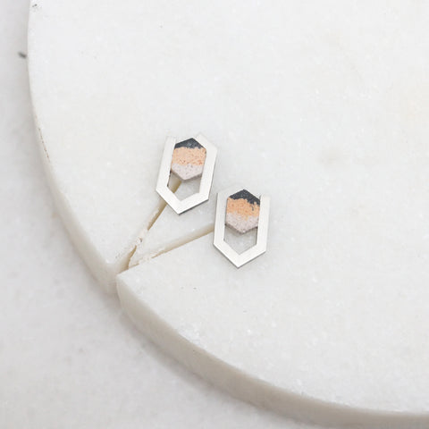 Hexagon silver and stone stud earrings