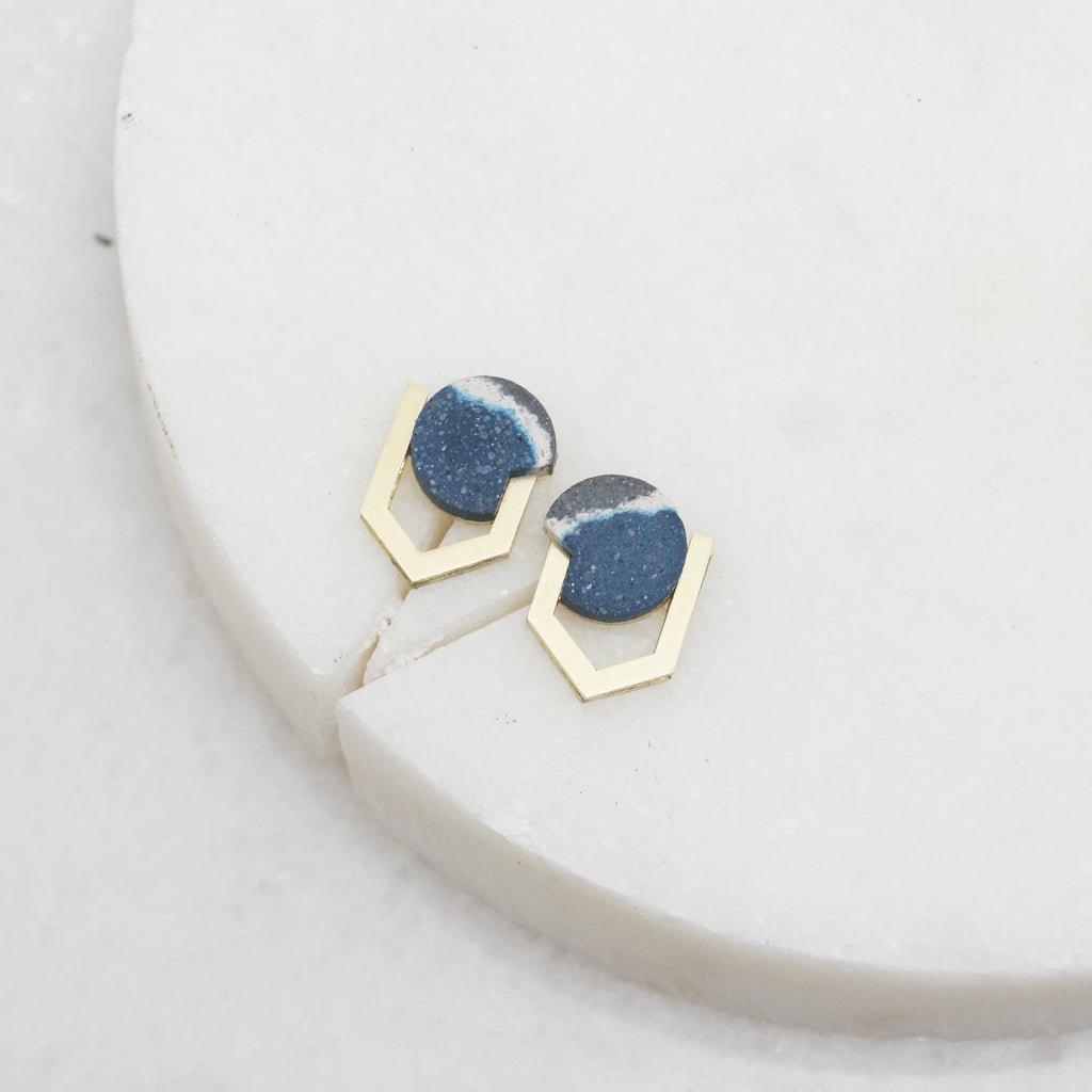 Geometric stone and brass stud earrings
