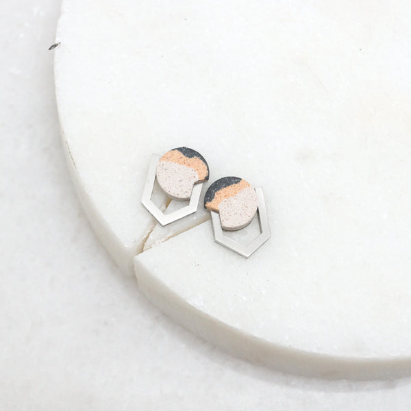 Geometric jesmonite stone and steel stud earrings