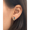 Geometric stud earrings in blue and gold