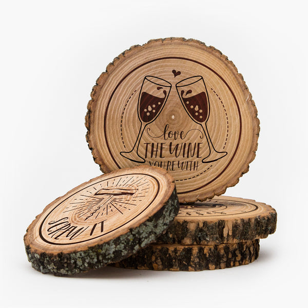 Live edge wood Wine Coasters