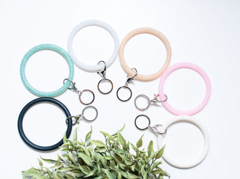 Silicone Bracelet Wrist Key Rings 6 Colors