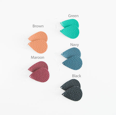 Solid Color Leather Teardrop Earrings - 10 Colors!