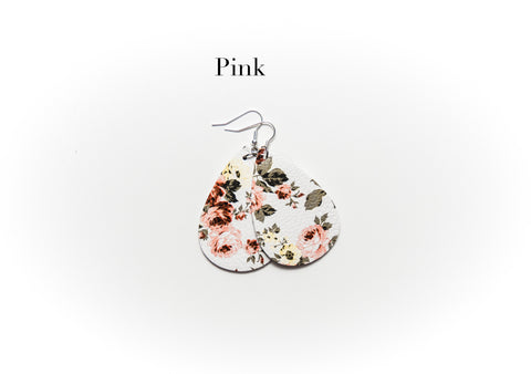 Floral Leather Earrings - 5 Colors!