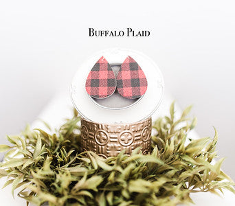 Plaid Leather Teardrop Earrings - 8 Colors!