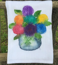 Embroidered and Hand Painted Bouquet Tea Towel