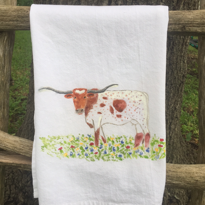 Longhorn Cow Tea Towel