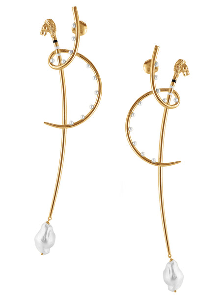 Katana Leo earrings with pearls