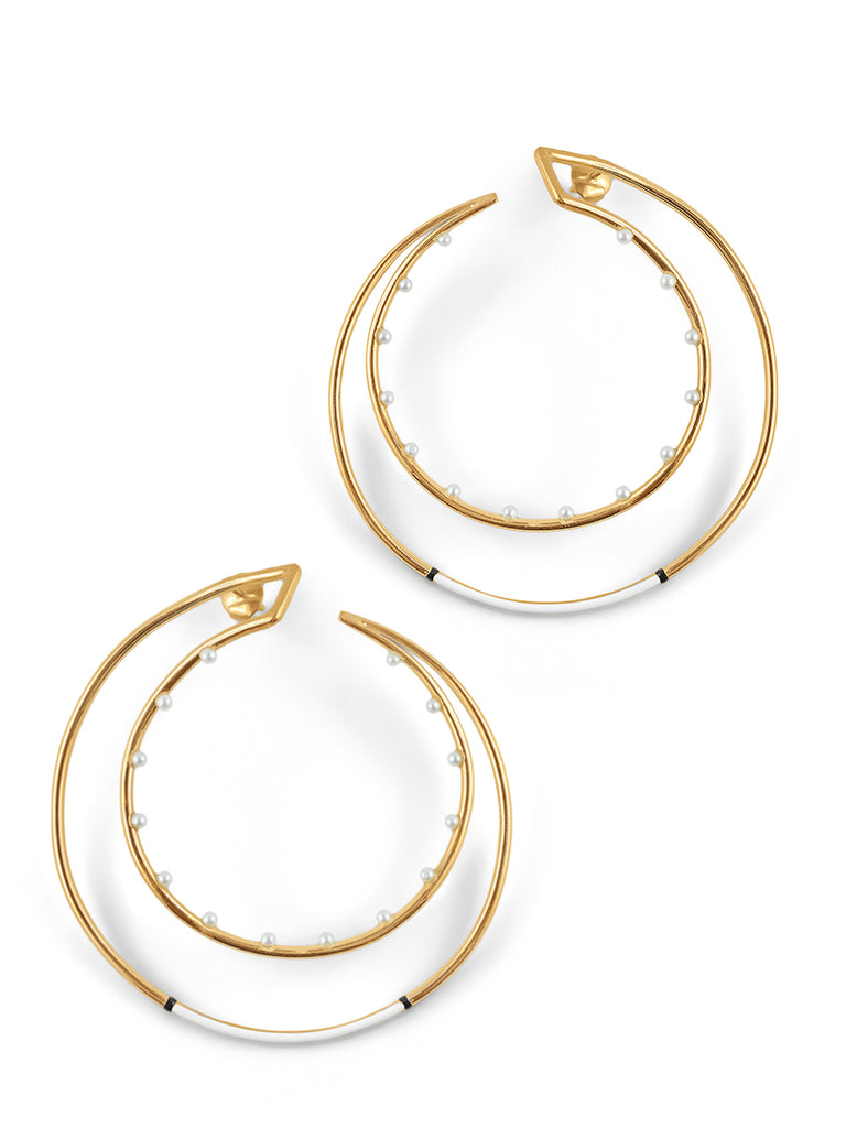 Pearly Demilune Hoops