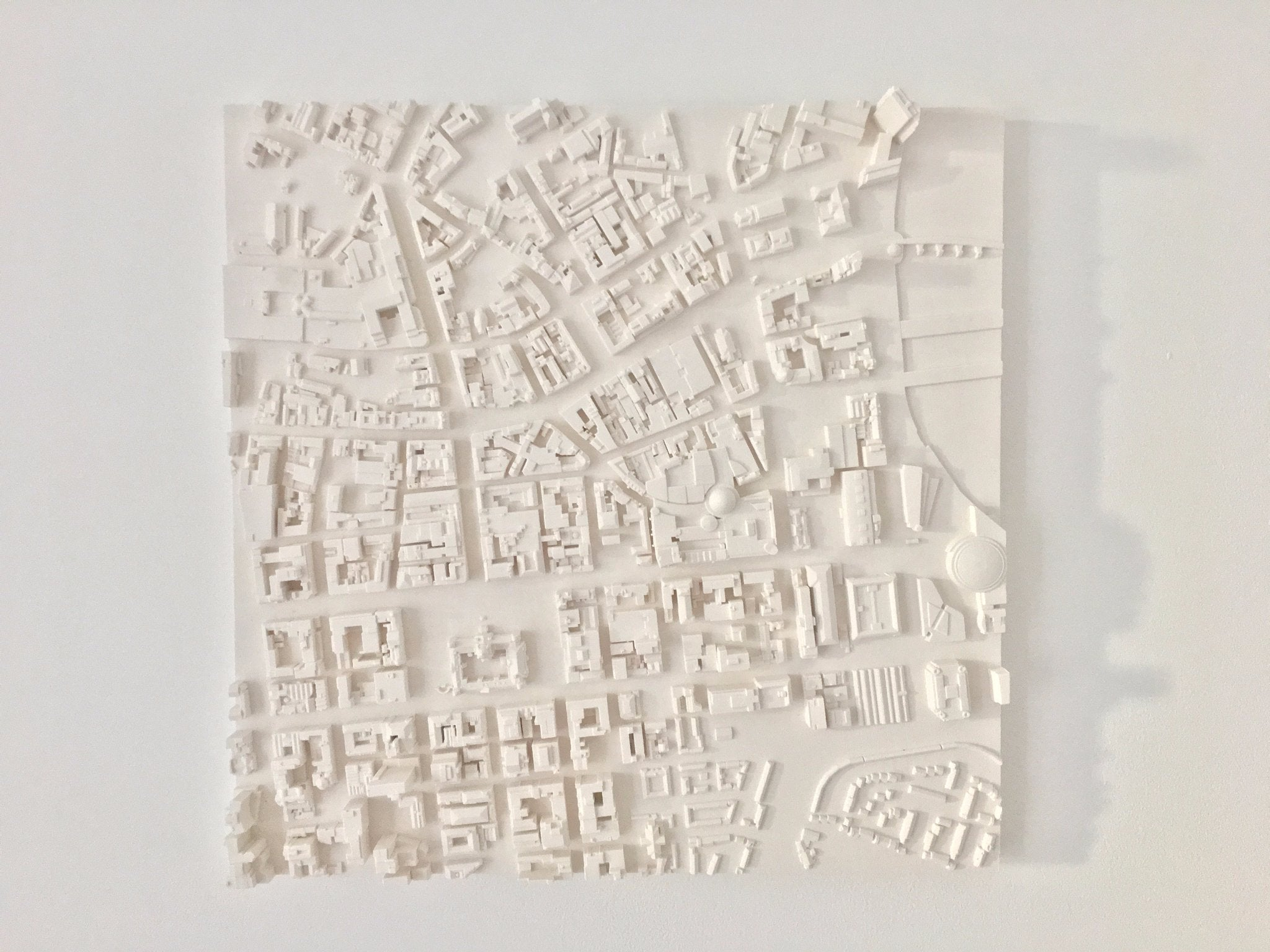plaster cast model of Belfast city map