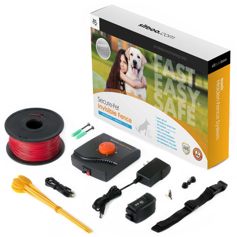 Electric Dog Fence and Pet Containment System In-Ground or Above Ground Installation - Rechargeable - 955 Feet of Wire w/Quickstart Guide
