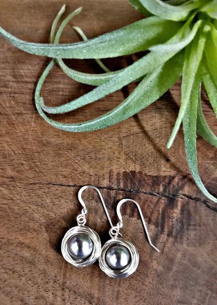 #WP13- Wrapped Pearl Drops-Light Grey Silver