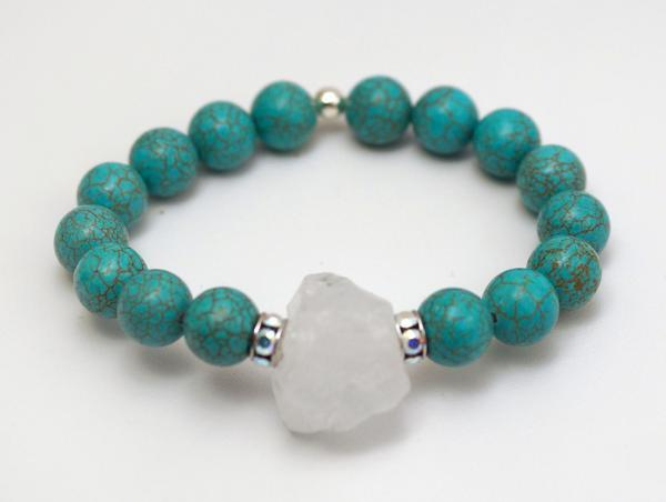 Turquoise Magnesite Stretch Bracelet with Swarovski Crystal Rhinestones and Sparkling Quartz Crystal Nugget by The Beaded Wire