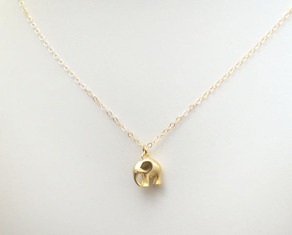 #MM49976N-Elephant Necklace- Gold