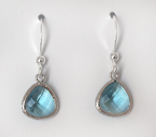 #AAFTP49- Petite Framed Teardrop Earrings- Aqua Silver