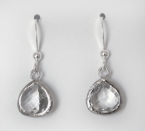 #AAFTP43- Petite Framed Teardrop Earrings- Clear Silver