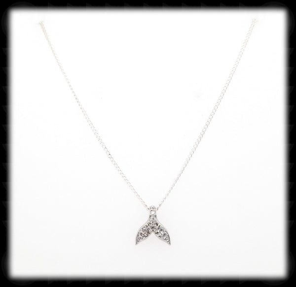 #N-MM0010- Cz Whale's Tail Necklace- Silver