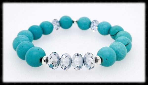 #JGB668-Gemstone Crystal Stretch- Turquoise Blue Shade