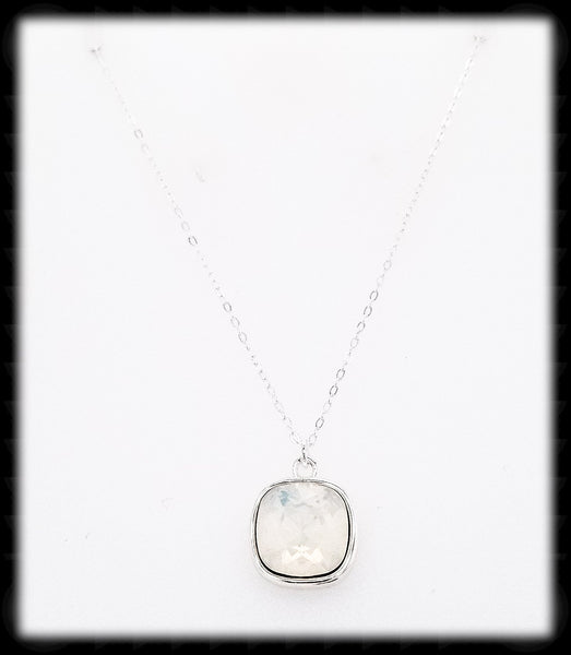 #CD17N- Cushion Cut Necklace- White Opal Silver