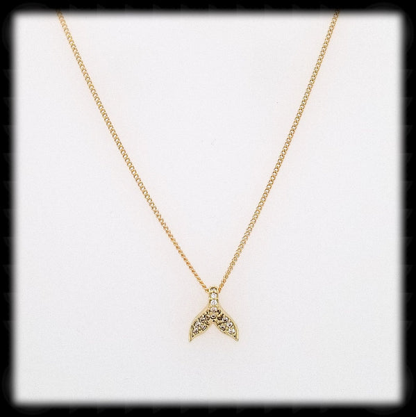 #N-MM0010G- Cz Whale's Tail Necklace- Gold