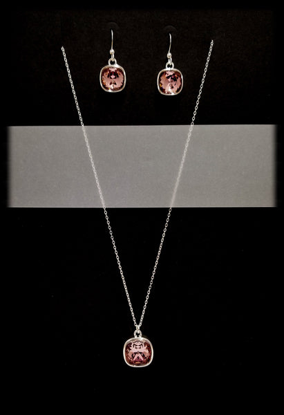 #CD51SET- Eclipse Drop Necklace and Earring- Antique Pink Silver