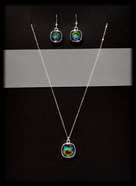 #CD27SET- Eclipse Drop Necklace and Earring- Vitrail Silver