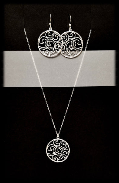 #MM993SET- Swirl Hoop Necklace and Earring- Silver