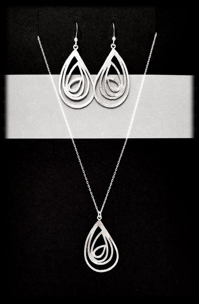 #MM511SET- Abstract Tear Necklace and Earring- Silver