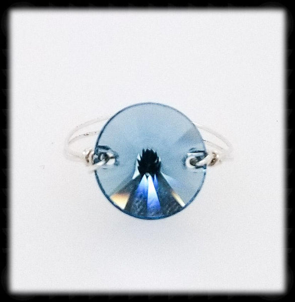 #R011- Wrapped Prism Ring- Aqua Sterling