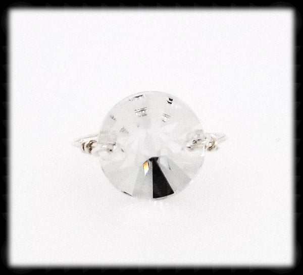 #R013- Wrapped Prism Ring- Sparkling Clear Sterling