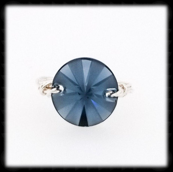 #R0141- Wrapped Prism Ring- Denim Sterling