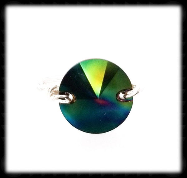 #R015- Wrapped Prism Ring- Vitrail Sterling