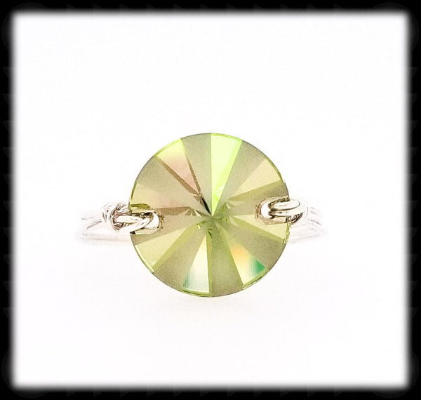 #R016- Wrapped Prism Ring- Luminous Green Sterling