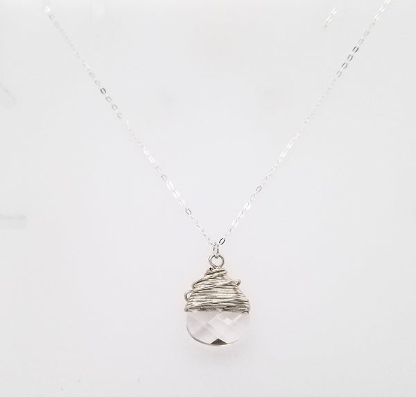 #aWD62N- Wrapped Crystal Brio Necklace- Clear Silver