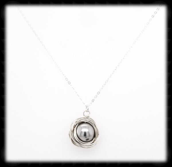 #WP13N- Wrapped Pearl Necklace-Light Grey