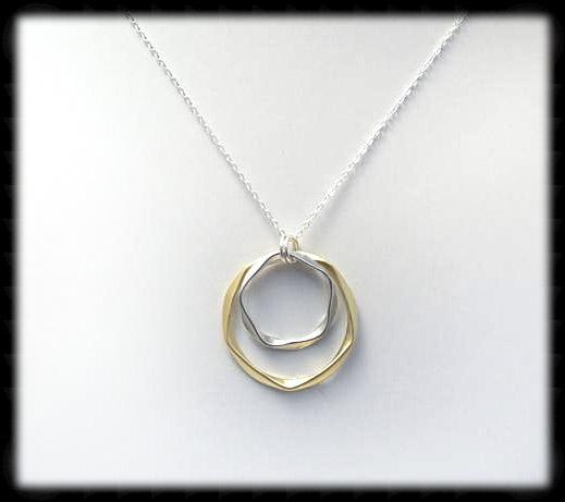 #MM291N- Bold Hammered Ring Necklace- Gold Silver