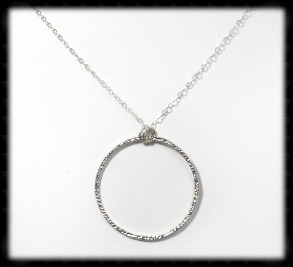 #MM74N- Textured Ring Necklace- Silver