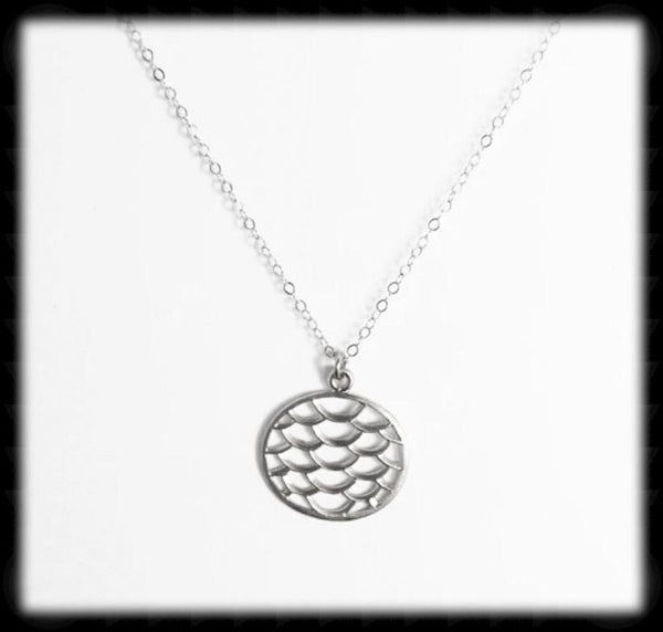 #N-MM78- Mermaid Scale Necklace- Silver