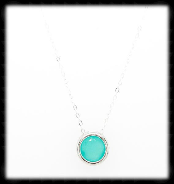 #MCN1- Framed Glass Necklace- Mint Silver