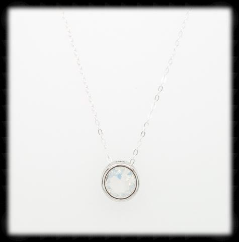 #MCN11- Framed Glass Necklace- White Opal Silver
