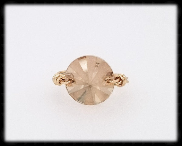 #R017G- Wrapped Prism Ring- Golden Shadow Gold