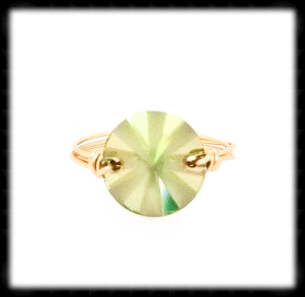 #R016G- Wrapped Prism Ring- Luminous Green Gold