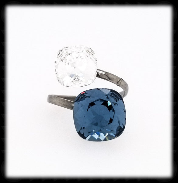 #R98- Sparkling 2 Tone Ring- Denim Clear