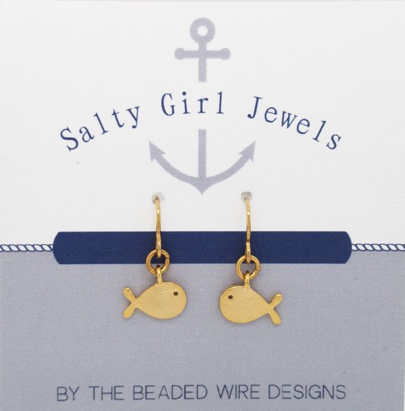 #SG3G-Petite Whale Drop Earrings- Matte Gold