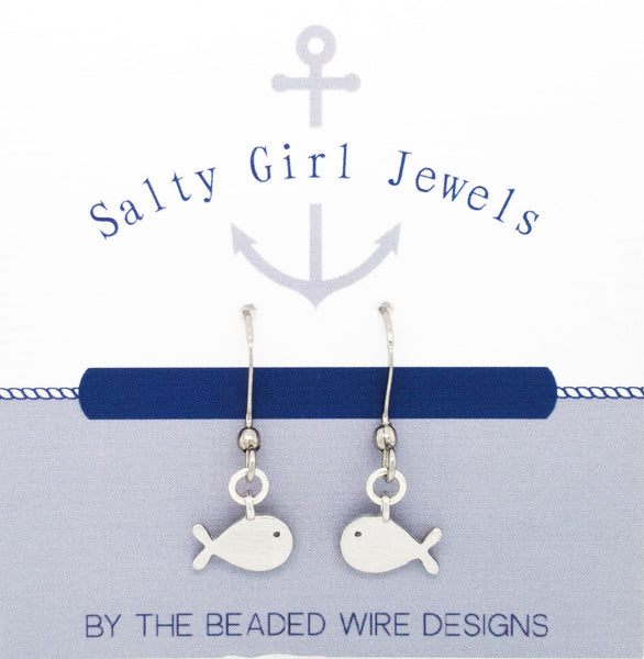 #SG3-Petite Whale Drop Earrings- Matte Rhodium