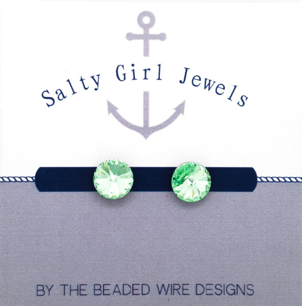 Petite Crystal Studs- Chrysolite