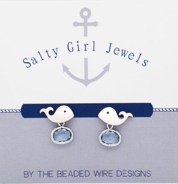 #SD76- Whale Drop Stud- Light Sapphire Silver
