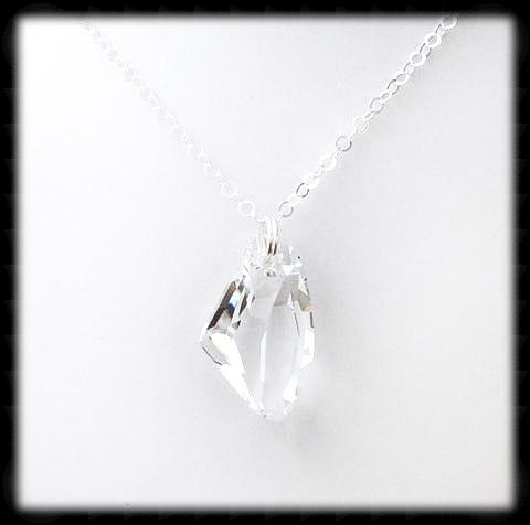 #ACRN11- Bold Crystal Long Necklace- Crystal Clear